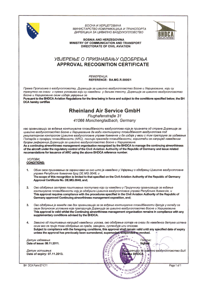 BHDCA - Approval Recognition Certificate / Bosnia and Herzegovina. Issued by the Ministry of Communication and Transport, Directorate of Civil Aviation Bosnia and Herzegovina