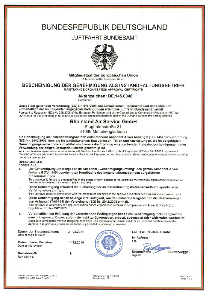 DE.145.0048 - Maintenance Organisation Approval Certificate, Issued by the Competent Authority (LBA).