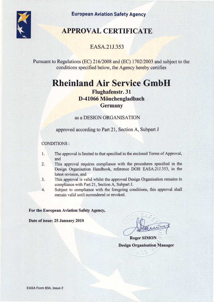 EASA.21J.353 - Design Approval Certificate. Ausgestellt durch die European Aviation Safety Agency (EASA) - Issued by EASA