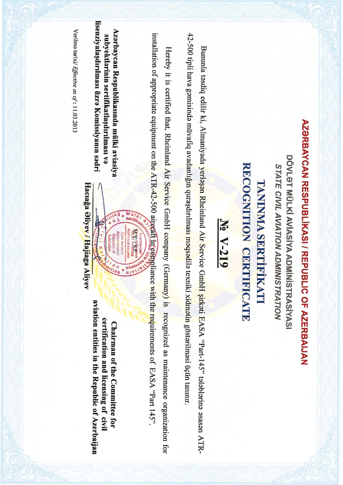 Azerbaijan – Maintenance Recognition Certificate. Ausgestellt durch das Staatl. Luftfahrtministerium Azerbaijan. Issued by the State Civil Aviation Administration of Azerbaijan
